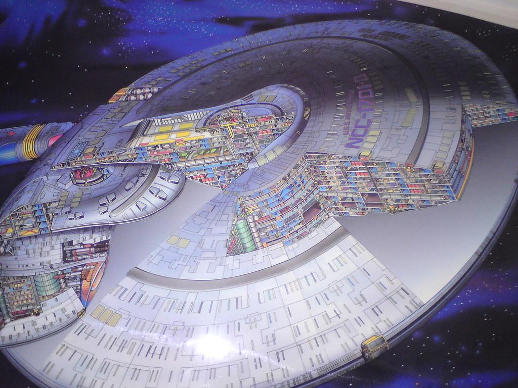uss enterprise ncc 1701 d cutaway poster flying through space