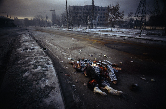 Grozny, Russia, 1995, Russian army offensive on the Chechen capital city of Grozny. The city was surrounded by the Russian army and hit by artillery shots and bombings, by Patrick Chauvel