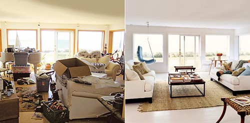 Before After Living Room Painted Floors White Upholstery Jute Rug