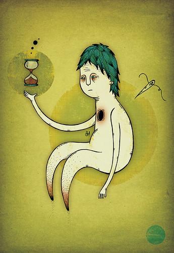 Ilustración: un hombre vacío mira cómo se le acaba el tiempo