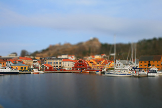 Tilt shift of the harbor in Halden