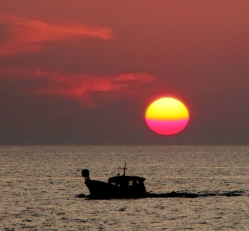 Sunset and Fishingboat