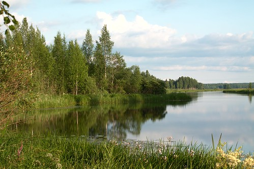 blue cloud lake reflection nature water clouds forest river landscape day pomarkku