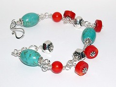 Turquose & coral bracelet