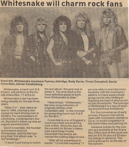 11/11/87 Whitesnake/Great White @ Duluth, MN (Newspaper Article)