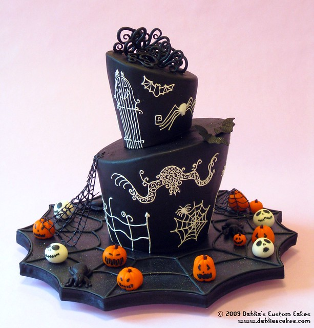 Wedding cake for costumed wedding on Halloween night Loosely inspired by