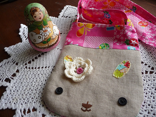 rabbit bag crochet flower2