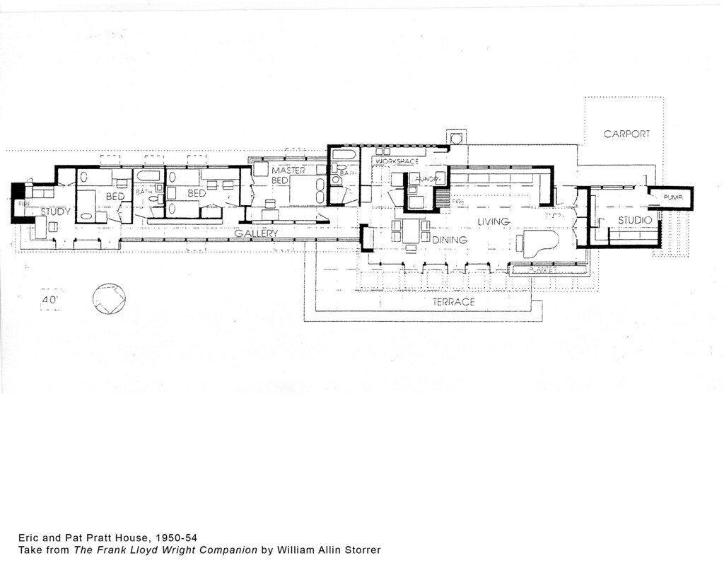 Eric and pat pratt house plan 1951 frank lloyd wright for Zimmerman house floor plan
