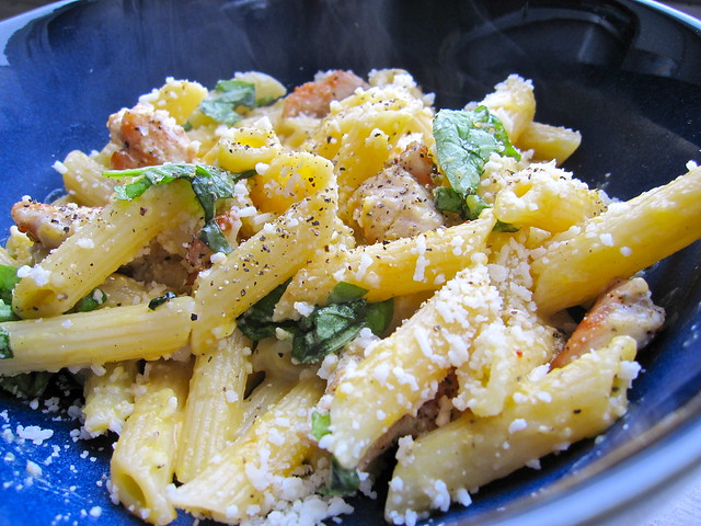 butternut squash penne pasta with basil and grilled chicken | Flickr ...