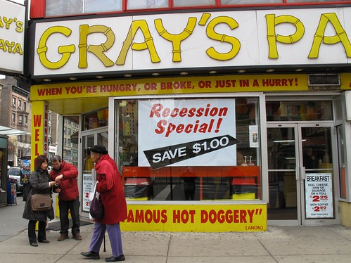 newyork hotdog manhattan broadway papaya tourists upperwestside grays recession hotdoggery