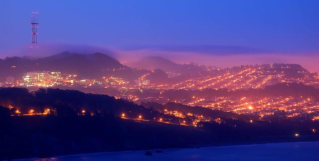 Richmond lights, Sunset fog