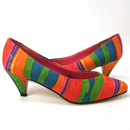 Unworn Vintage 1980's Bright Multi-Color Jacquard Striped Shoes
