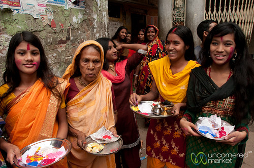 Hindu Women Celebrating Holi in Old Dhaka, Bangladesh