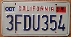 CALIFORNIA 1995 LICENSE PLATE ---GENERIC BASEPLATE
