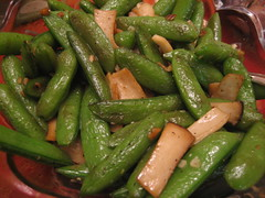 Sauteed King Mushrooms and Snap Peas