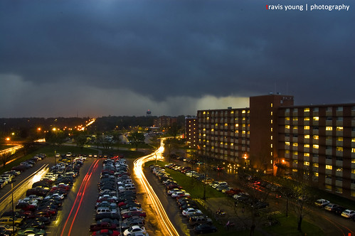 storm cars rain night lights long exposure university parking lot ku kansas ellsworth tornado dorms dormatory jayhawks mccollum