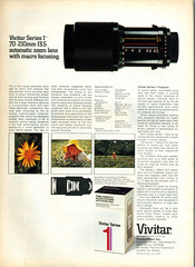 Ad for the first Vivitar Series 1 70-210mm f/3.5 Macro-focusing zoom lens