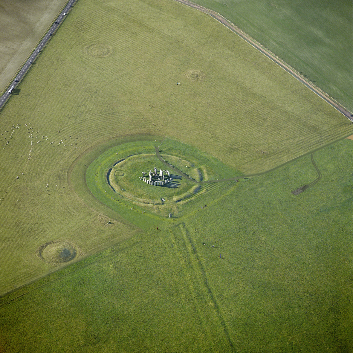 Stonehenge aerial view, photo courtesy of Denton Corker Marshall