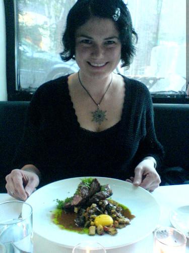 rachel and her rib eye steak   DSC02841