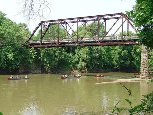 Paddlers explore the historic Staunton River Bridge