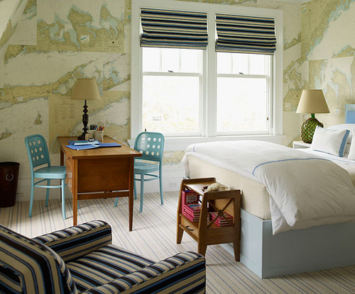 Maps as decor: Beachy nautical bedroom, designed by Steven Gambrel ...