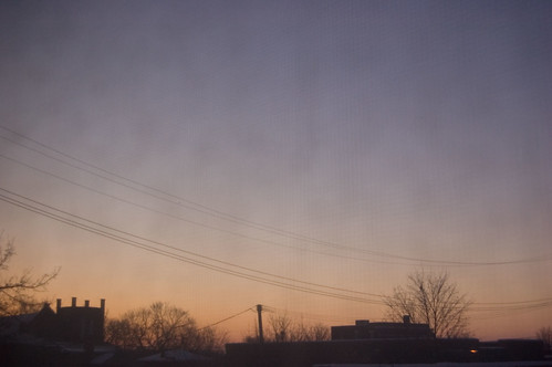 pink blue sky usa home silhouette sunrise buildings dawn michigan wires 2009