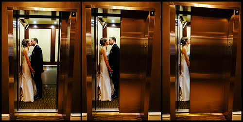 wedding portrait love newjersey nikon kiss elevator posed morristown d3 2470mmf28g csillaandkent