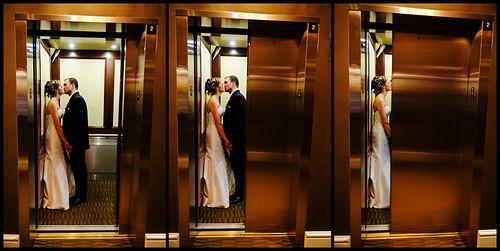 wedding portrait love newjersey nikon kiss elevator posed morristown d3 2470mmf28g csillaandkent
