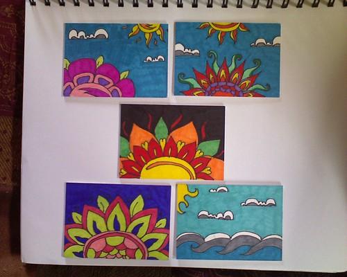 More Sharpie Doodle ATC's