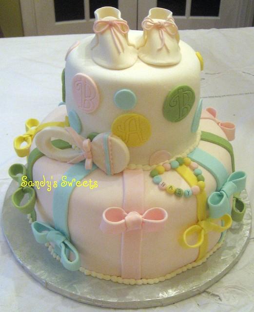 polka dot baby shower cake