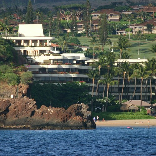 Ka'anapali's Black Rock as seen from out on the water.