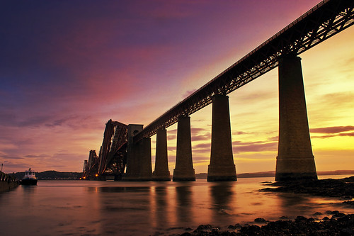 longexposure bridge summer sky seascape sunrise canon outdoors scotland edinburgh canon300d naturallight stuart forth f22 colourful soe forthbridge southqueensferry 18mm seatide hawespier stuartstevenson abittiredtonight ©stuartstevenson