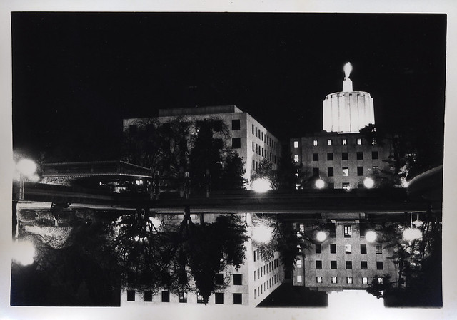 Salem capitol building at night