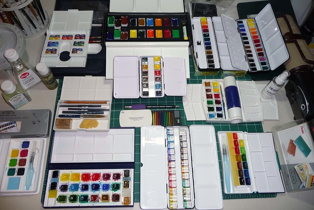 Watercolor pans sets collection