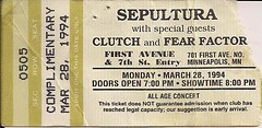 03/28/94 Sepultura/Clutch/Fear Factory @ Minneapolis, MN (Ticket Stub)