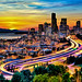 Seattle in Motion at Sunset by Surrealize