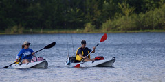 Fishing kayakers on Lake Brittle