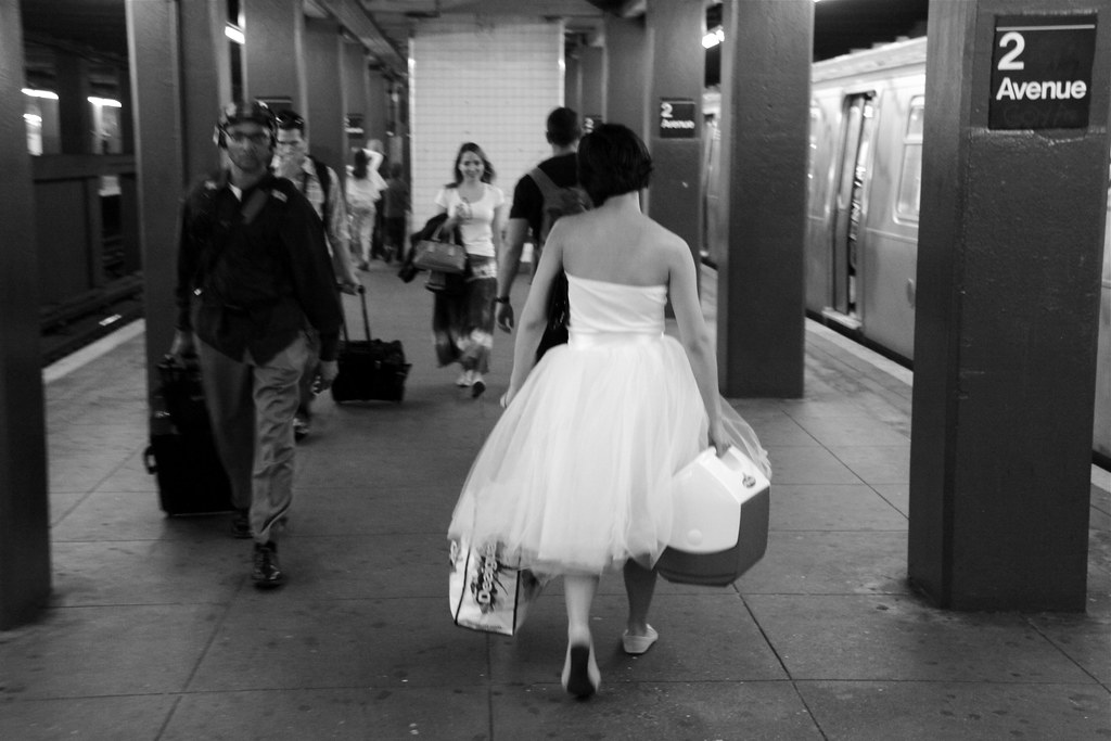 Girl in the White Dress - 2nd Ave Subway Stop, NYC