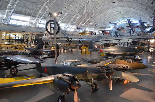 Steven F. Udvar-Hazy Center: View over World War Two aviation wing, including Japanese planes and B-29 Enola Gay