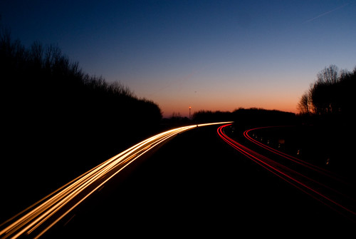 Motion blur car lights