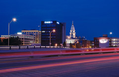 Night Skyline View of Downtown Lafayette, Indiana