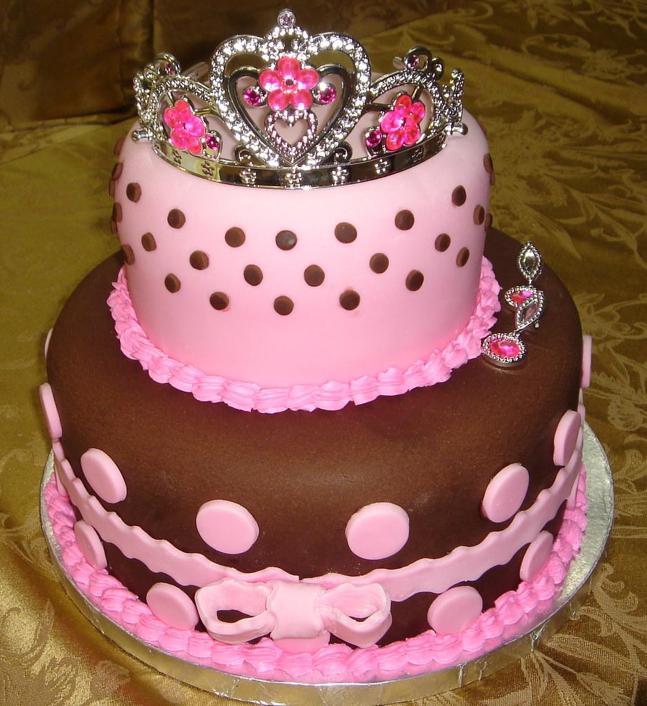 Pink And Brown Polka Dot Princess Birthday Cake