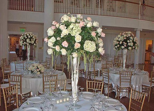 Rose Wedding Reception Flower Arrangement by Beikmann Associates