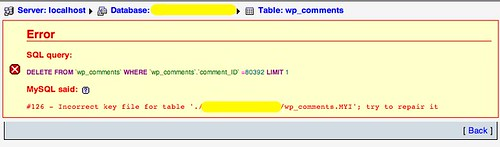 Moving at the Speed of Creativity - WordPress commenting restored thanks to phpMyAdmin table repair