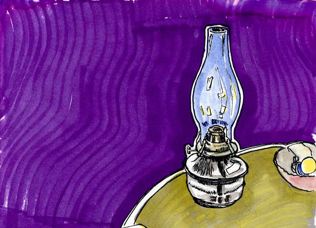 ye olde oil lamp in shak