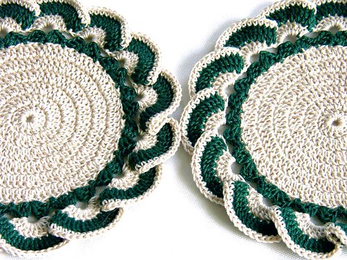 2 Small Crocheted Doilies Coasters