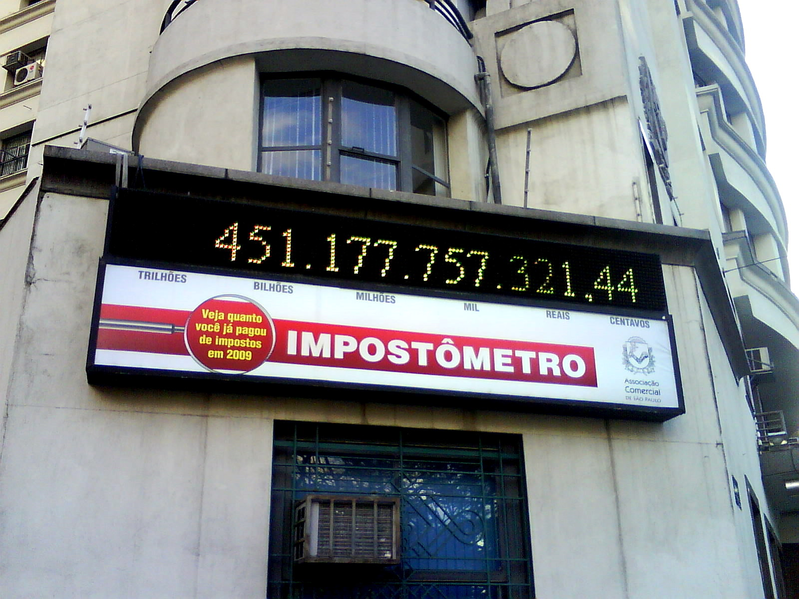 Impostômetro -  a counter showing how much in taxes were paid by brazilian people, Photo by Bruno Pedrozo on Flickr. CC BY 2.0