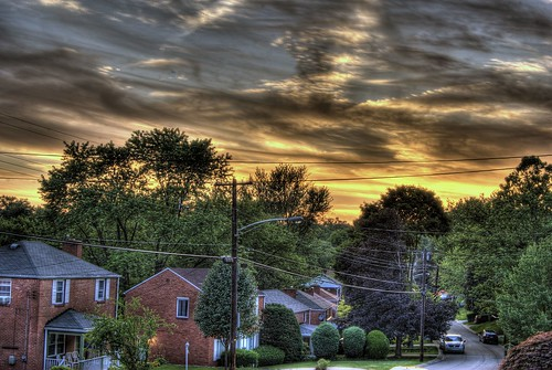 street trees houses sunset red sky photoshop nikon wires hdr highdynamicrange sunsetting cs4 endoftheday photomatix d40 tonemapped d40x evad310 davedicello