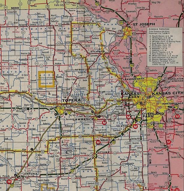 Kansas Strip Map Of I 35 Between Kansas City And Emporia