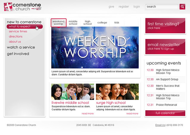 Cornerstone Church - Home Page w/Sub Navigation